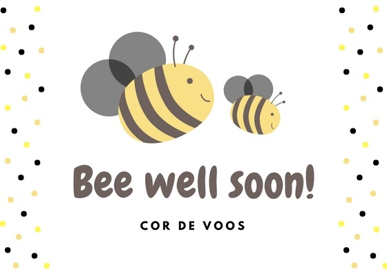 Bee Illustrated Get Well Soon Card