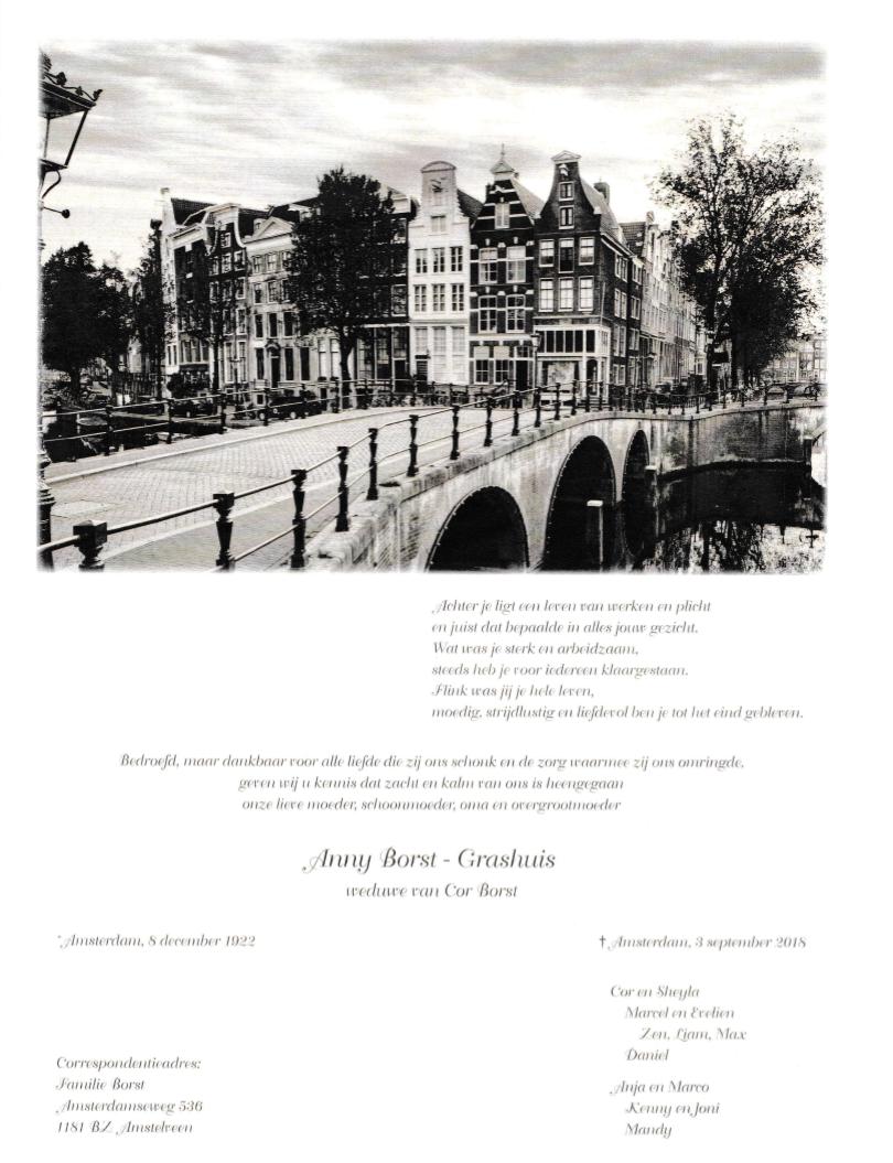 Rouwkaart Anny Borst-Grashuis